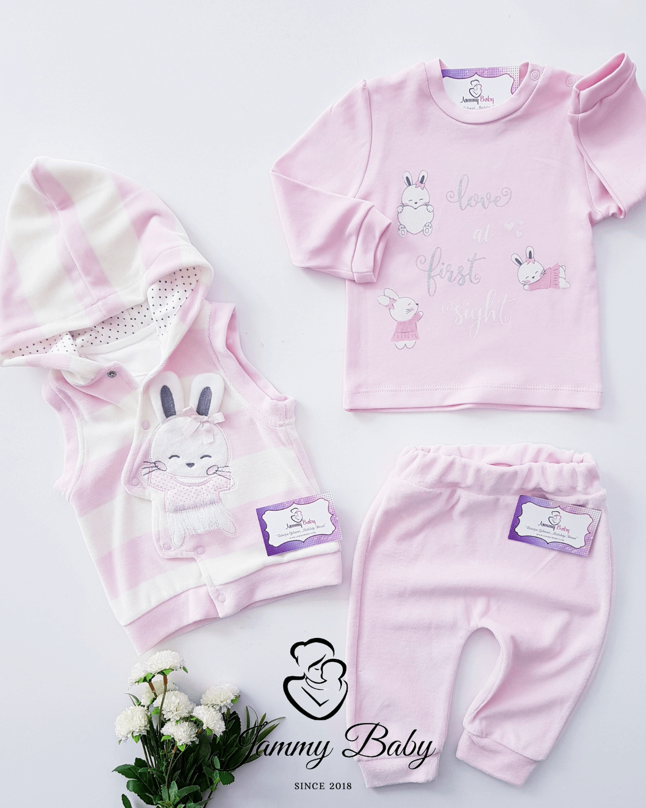 3 Piece Ballerina Rabbit Velvet Vest Set - PINK