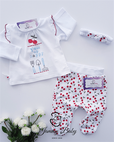 2 Piece Cherry Garden With Bandana Set - WHITE