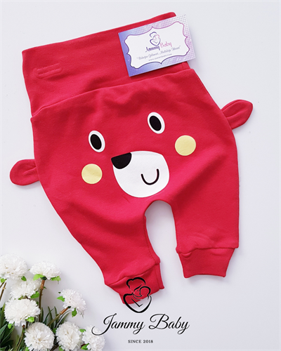 Honey Bear Eared Trousers - RED