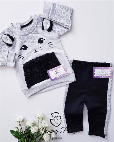 2 Piece Leopard Cat Girl Set - GREY