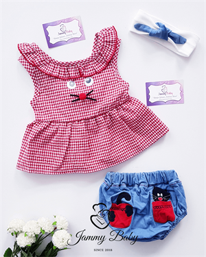 3 Piece Curious Eyes with Bandanna Set - RED