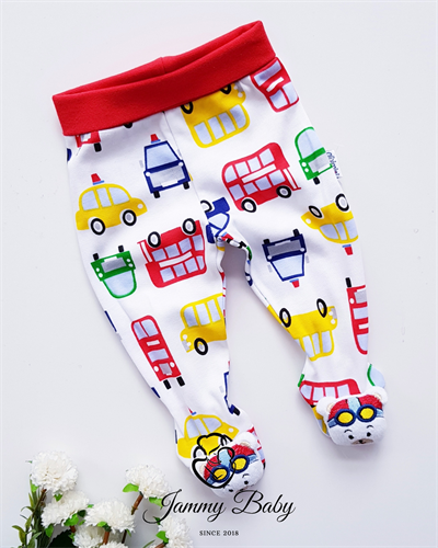 Colorful Cars Booties Rattle Pants - RED