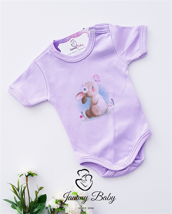 Rabbit Printed Short Sleeve Body - LILAC